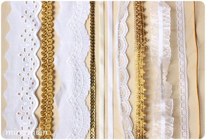 Белые и золотистые ленточки для куклы ангела