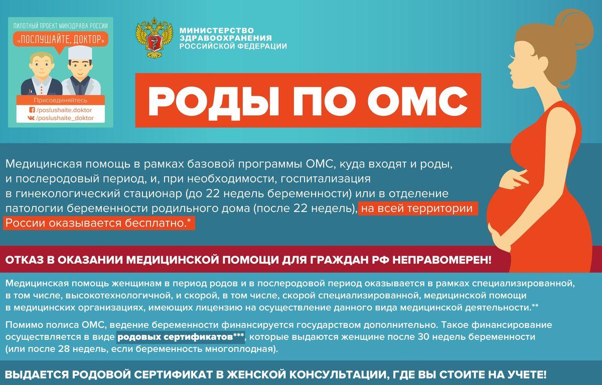 Бесплатные роды по ОМС по всей территории Российской Федерации