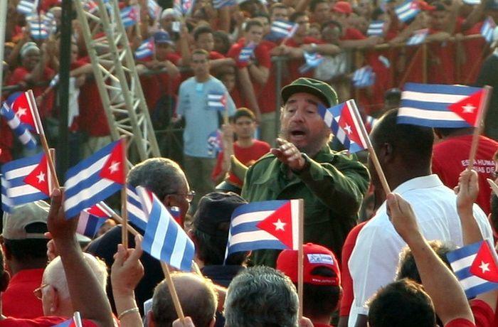 Фидель Кастро в 2005 году на Кубе выступает перед народом