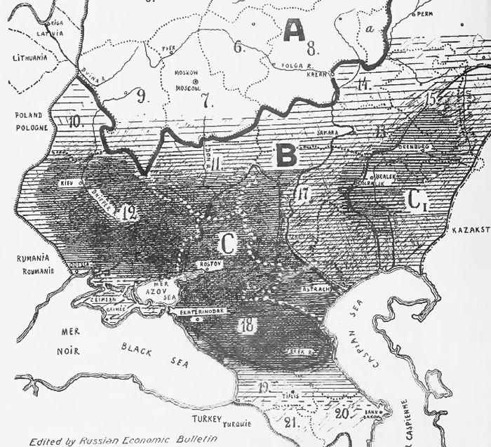 Главные районы голода 1930х годов в СССР