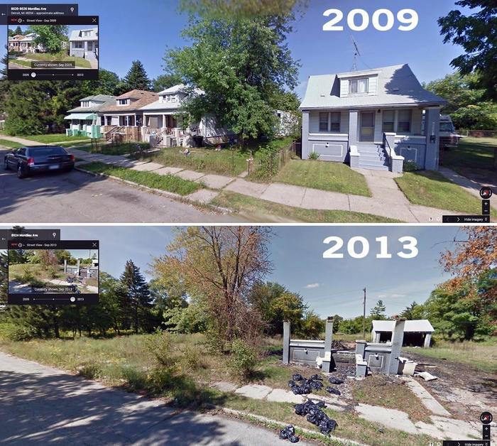 Как исчезают дома в Детройте: было и стало