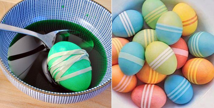 Готовим пасхальные яйца в полоску с помощью резинок