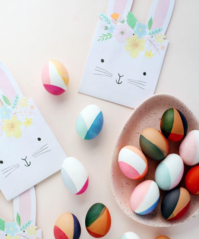 Как покрасить яйца полосками