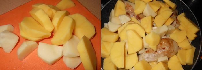 Порезать картошку кусочками и добавить на сковородку