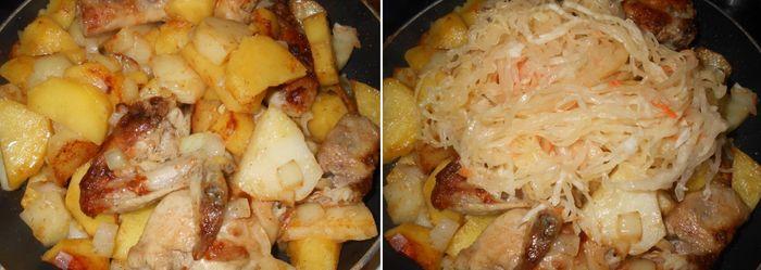 Добавляем перец, соль и выкладываем на сковородку саму квашеную капусту