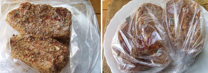 Укладываем куски сала в пакет из пищевой пленки