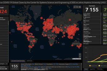 Карта распространения COVID-19 от Университета Джонса Хопкинса