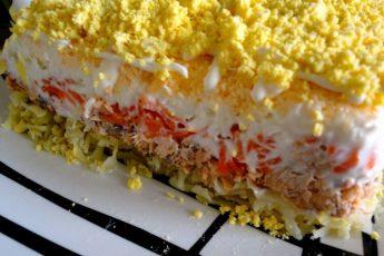 Классический рецепт салата Мимоза с рыбными консервами