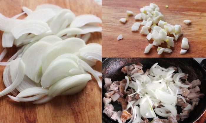 Нарезанные чеснок и лук высыпаем в сковороду к свинине