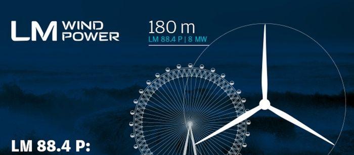 Диаметр лопастей ветрогенератора LM 88.4 P составляет 180 метров