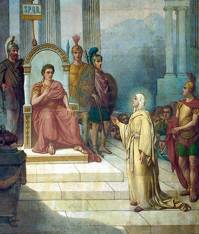 Мария Магдалина показывает императору красное яйцо, символизирующее воскрешение Христа