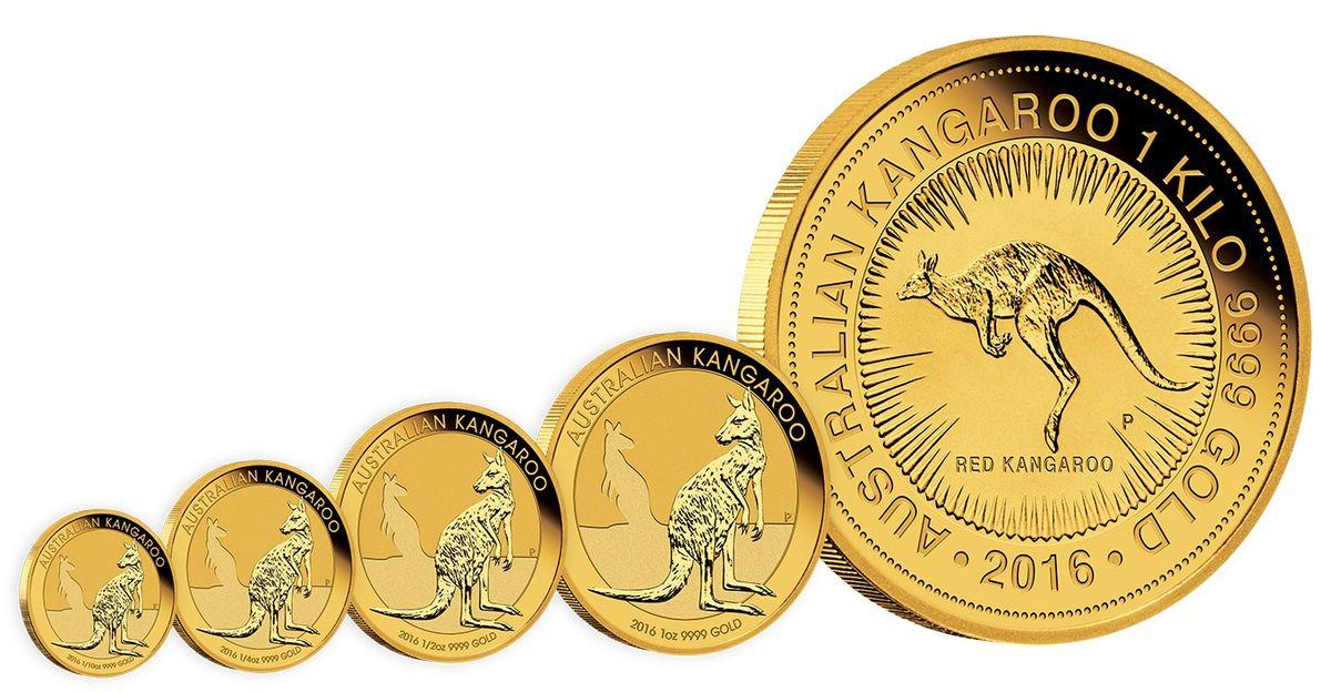 Набор золотых монет серии Australian Kangaroo Gold Bullion