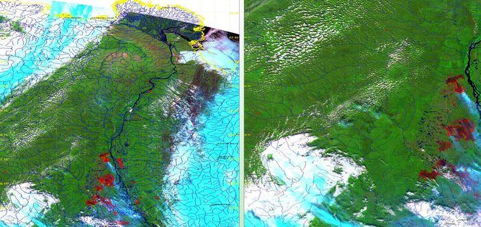 Поиск лесных пожаров с помощью спутников