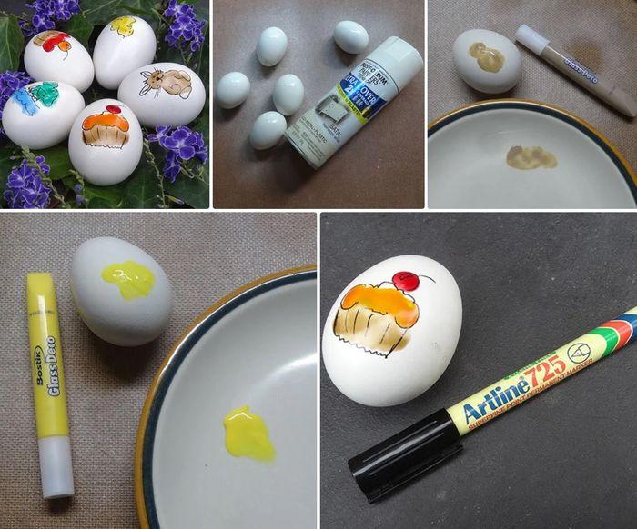 Раскрашиваем яйца акварелью или гуашью