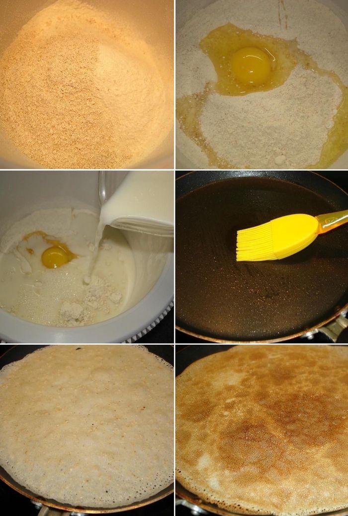 Процесс приготовления пшенично-овсяных блинов с творогом и сгущенкой