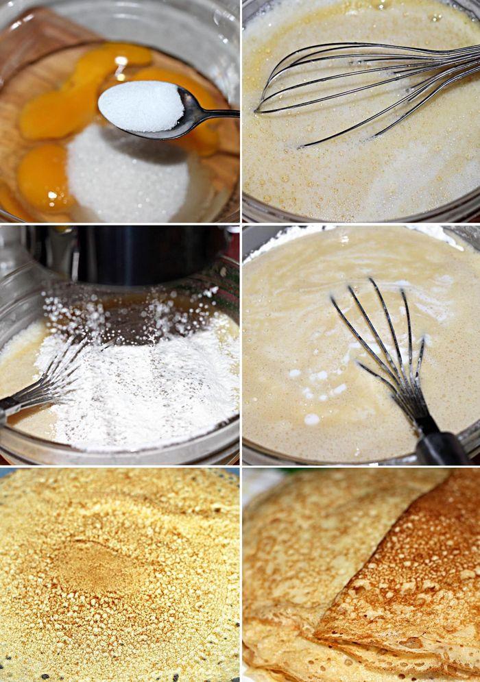 Процесс приготовления кружевных блинов на кефире и кипятке
