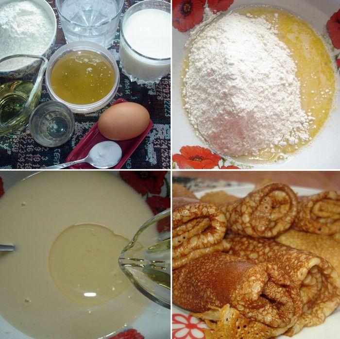 Процесс приготовления тонких медовых блинов на молоке