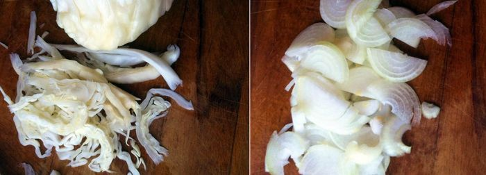 Режем капусту и лук