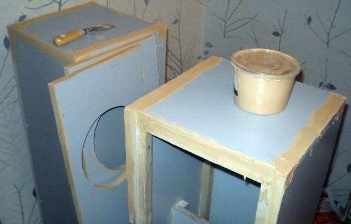 Шпаклевание корпуса колонок перед оклейкой или покраской