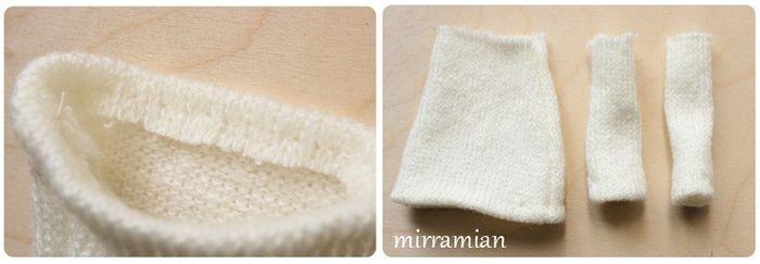 Подшиваем подол и рукава свитерка для ангела