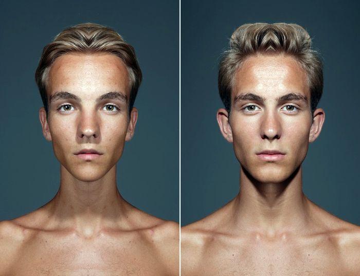 Из портрета делают два полностью симметричных лица