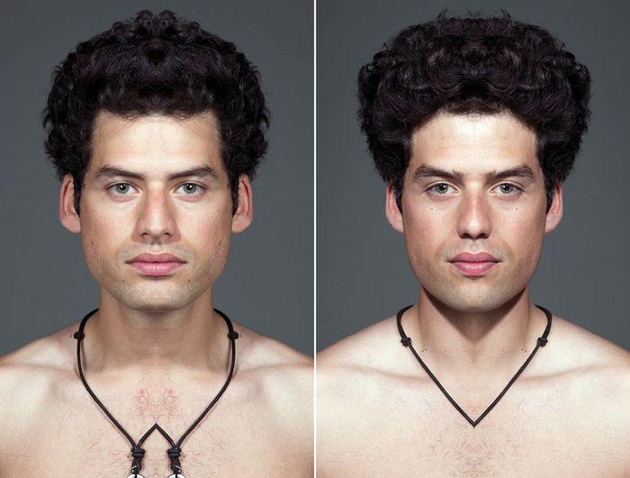 После искусственного формирования симметрии один и тот же человек выглядит как два разных
