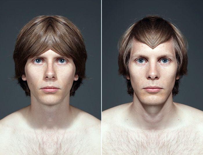 Асимметрия человеческого лица превращается в два разных зеркалированием