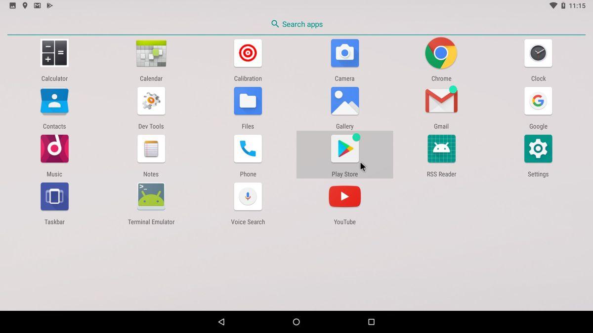 Дефолтный список android-приложений после установки ОС на ПК
