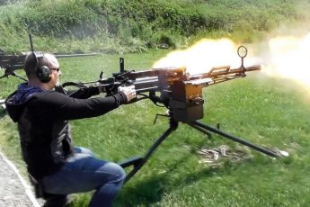 Стрельба из крупнокалиберного пулемёта Владимирова КПВ на станке