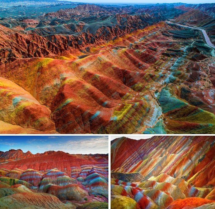 Цветные скалы в геопарке Данься