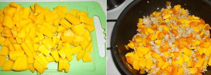 Добавляем кусочки тыквы к мясу и моркови
