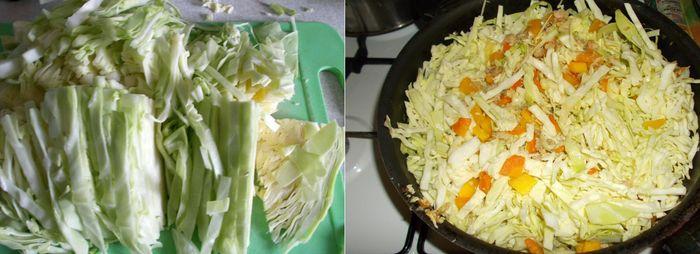 Режем капусту соломкой и высыпаем на сковороду к фаршу