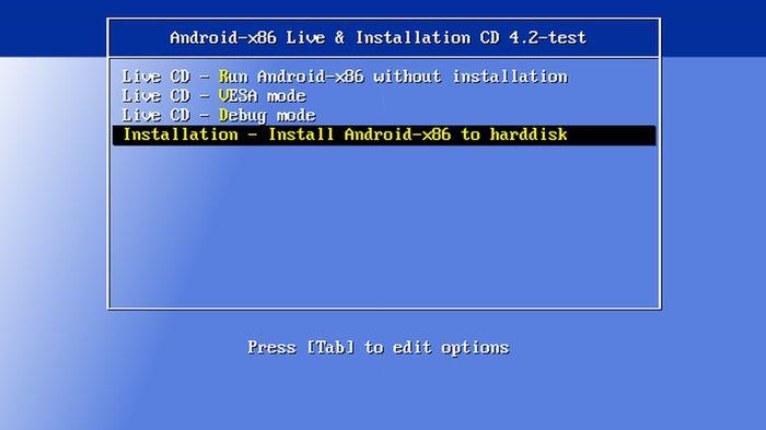 Установка операционной системы Android-x86 на компьютер
