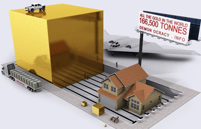 Все золото мира в одном кубе со сторонами 20,5 м